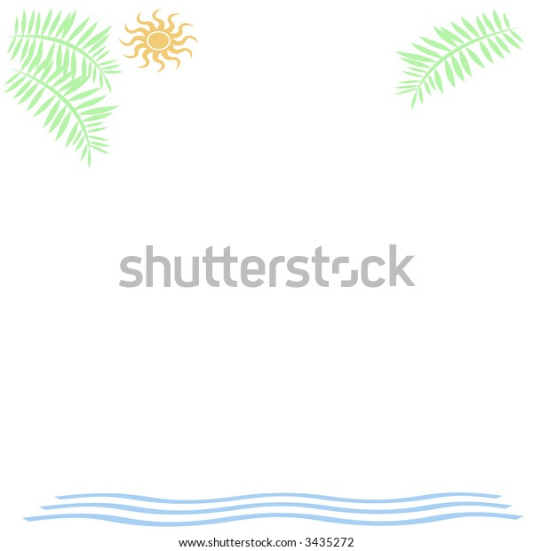 abstract palms sun and surf border on white background