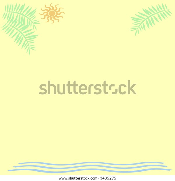 abstract palms sun and surf border on yellow background