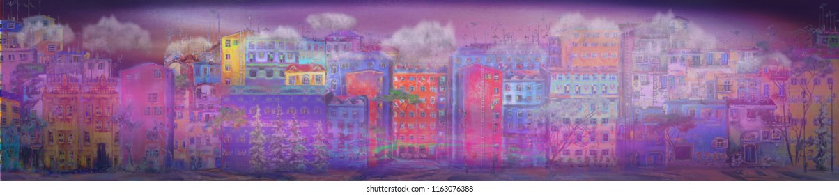Abstract panorama of night town. Surreal painting cityscape.