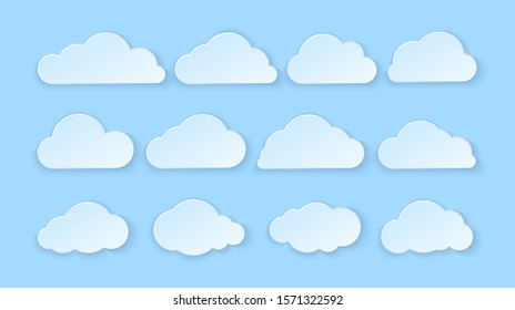 Abstract paper clouds set. Paper clouds on blue background. illustration