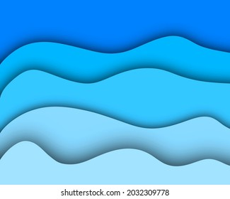 Abstract paper cut blue background.ocean paper cut.