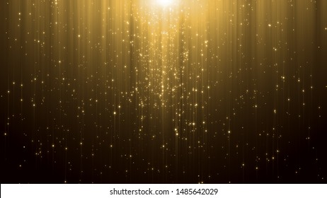 abstract particle award with glitter effect on dark background