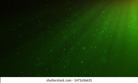 Abstract particles background of shining, sparkling green particles. Beautiful green floating dust particles with shine light. 3D Rendering