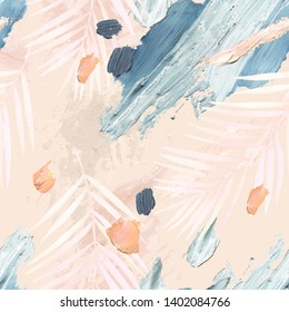 Abstract pastel brushstrokes and palm leaf background. Acrylic, oil paint rough smears, blots, texture, watercolor tropical leaves seamless pattern. Hand painted illustration for modern surface design