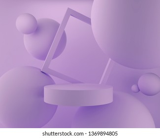 abstract pastel color geometric shape background, modern minimalist mockup for podium display or showcase, 3d rendering.
