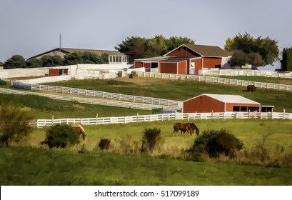 Abstract of pastures, horses, fences, and outbuildings on an equestrian farm in the American Midwest, with digital painting effect, for rural and lifestyle themes