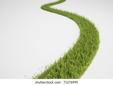 Abstract pathway made of grass and yellow flowers