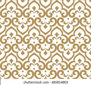Abstract pattern in Arabian style. Seamless background. Graphic modern pattern. White and gold pattern.
