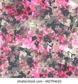 Abstract pattern camo design. Floral seamless background. Camouflage swatch with watercolor effect. Textile print for bed linen, jacket, package design, fabric and fashion concepts.