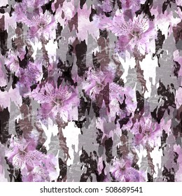 Abstract pattern with flowers. Floral camo background. Camouflage pattern with watercolor effect. Textile print for bed linen, jacket, package design, fabric and fashion concepts.
