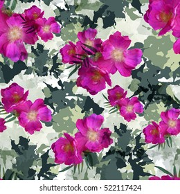 Abstract pattern with flowers. Floral seamless background. Camouflage seamless pattern with watercolor effect. Textile print for bed linen, jacket, package design, fabric and fashion concepts.
