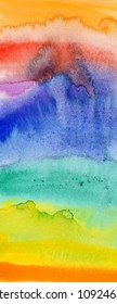 Abstract pattern of the flowing water colors on paper