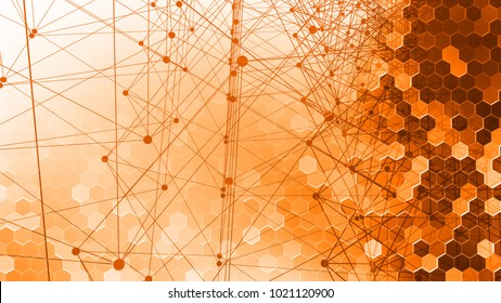 Abstract pattern of geometric lines and points. Abstract scheme. Networking. Abstract background. 3D render illustration
