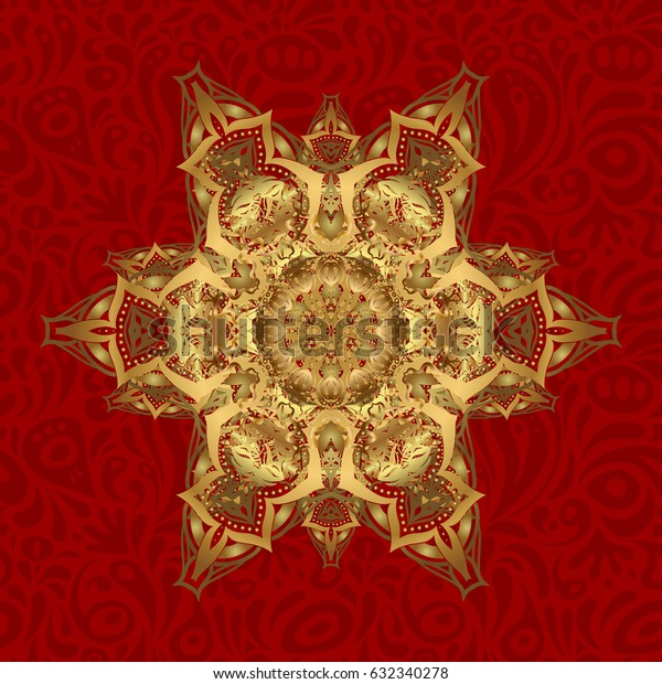Abstract pattern. Hand-drawn golden mandala on a red background.
