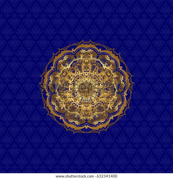 Abstract pattern. Hand-drawn golden mandala on a blue background.