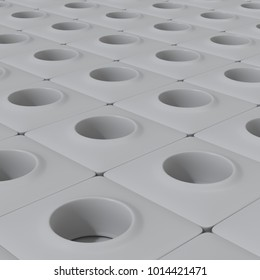 Abstract pattern made of tiles, each of them is a cubic cell with a round hole. 3d rendering, digital illustration