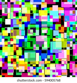 Abstract pattern multicolored blocks illustration.