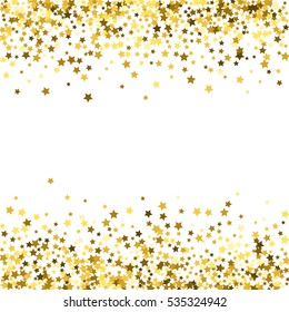 Abstract pattern of random falling gold stars on white background. Glitter template for banner, greeting card, Christmas and New Year card, invitation, postcard, paper packaging.