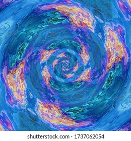 abstract of pealing paint in shades of blue flaky wall surface with pink purple and turquoise colors concentric repeating designs