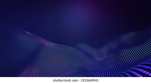 Abstract pentagon grid pattern with purple and violet light wave technology background. Futuristic and ai tech concept. 3d rendering.