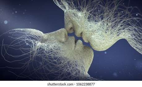 abstract people kissing; 3d illustration