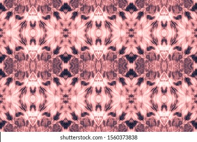 Abstract Persian Ethnic Element. Patchwork Seamless Pattern. Xmas Blush, Pink On Old Paper. Paper Textures Watercolor. Vintage Style. Dip Dye Texture.