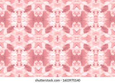 Abstract Persian Stylized Element. Tie Dye Seamless. Winterly Fuchsia, Gray On Old Paper. Colorful Stripe Pattern. Vintage Style. Seamless Boho Background.