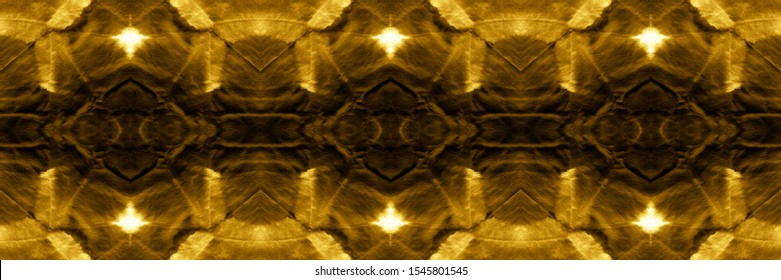 Abstract Peru Stylized Ornament. Luster Gold, Orange On Dark. Bandanna Design. Geometric Grunge Background. Folklore Design. Trendy Textured Wallpaper.