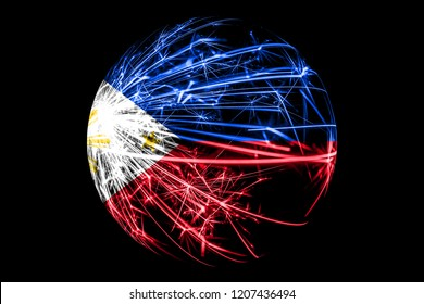 Abstract Philipines sparkling flag, Christmas ball concept isolated on black background