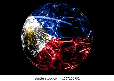 Abstract Philipines sparkling flag, Christmas ball holiday concept isolated on black background