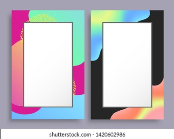 Abstract photoframes with blurred pattern on borders empty frames place for text raster illustration of mockup identity posters isolated white
