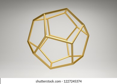 Abstract photorealistic 3d rendering of a dodecahedron. Modern background with geometric shape of the Platonic solids. Minimalist design for poster, cover, branding, banner, placard.