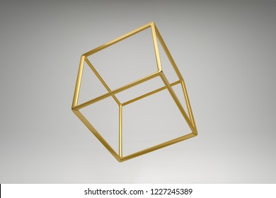 Abstract photorealistic 3d rendering of a hexahedron, cube. Modern background with geometric shape of the Platonic solids. Minimalist design for poster, cover, branding, banner, placard.