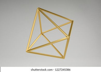 Abstract photorealistic 3d rendering of a octahedron. Modern background with geometric shape of the Platonic solids. Minimalist design for poster, cover, branding, banner, placard.