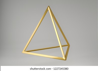 Abstract photorealistic 3d rendering of a tetrahedron. Modern background with geometric shape of the Platonic solids. Minimalist design for poster, cover, branding, banner, placard.