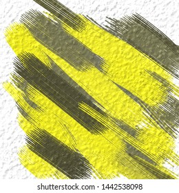 Abstract picture for home decor. Paint brushes. Modern art. Contemporary art. Colorful texture. Yellow and grey stripes. Oil painting on canvas