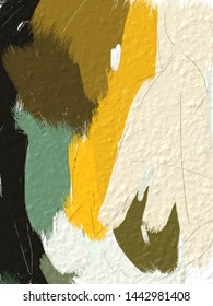 Abstract picture for home decor.Original oil painting on canvas. Abstract art background.Modern art. Contemporary art. Thick paint surface. Coloring brush strokes in yellow, black and white.