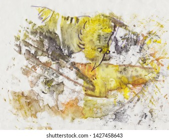Abstract picture with yellow bird and fish
