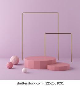 Abstract pink background with geometric shape podium. 3d rendering