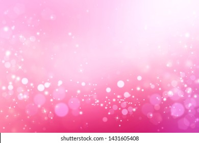Abstract pink bokeh background blur. Shiny festive illustration with stars