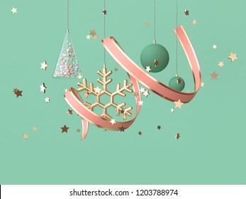 abstract pink coil ribbon many object decoration floating christmas concept 3d rendering