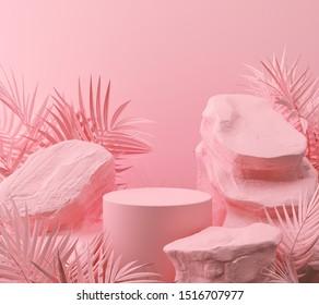 arrière-plan géométrique Pierre et Roche abstrait rose et géométrique, maquette minimaliste pour l'affichage ou la vitrine du podium, rendu 3d.