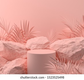 abstract pink color geometric Stone and Rock shape background, minimalist mockup for podium display or showcase, 3d rendering.