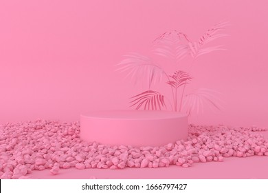 abstract pink color geometric Stone and Rock shape background, showcase for product 3d render.