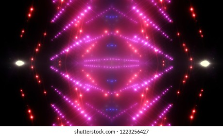 Abstract pink creative lights background. Illustration digital of kaleidoscope effect.