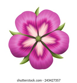 abstract pink flower illustration isolated on white background, single design element