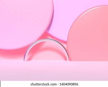 abstract pink geometric shape wall blank floor colorful scene 3d rendering
