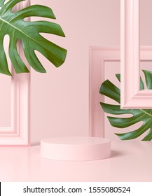 Abstract pink geometry shape background with frame and plant. podium minimalist mock up scene. 3d rendering.