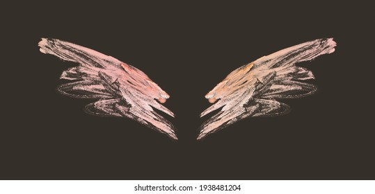Abstract pink hand painted wings on black background in vintage nostalgic colors