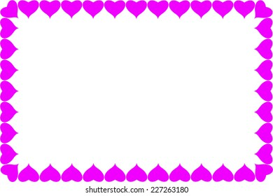 Abstract pink hearts frame background. for valentines day